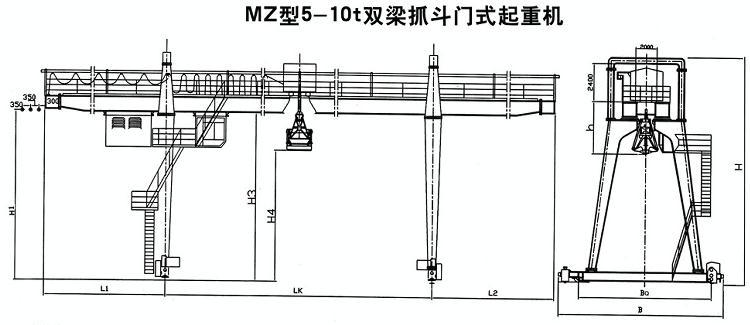 mz型双梁抓斗门式起重机结构图纸