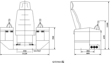 QT104系列控制台外形尺寸图纸