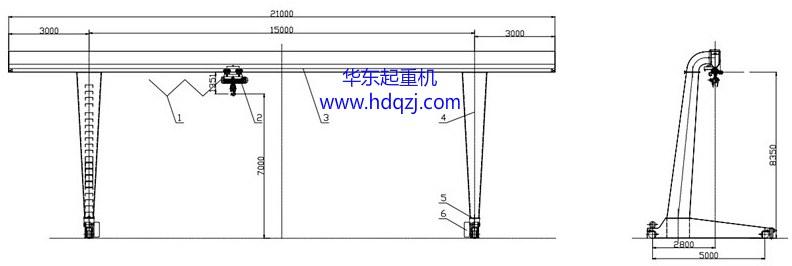MHL型电动葫芦偏挂门式qy8.vip千赢国际图纸